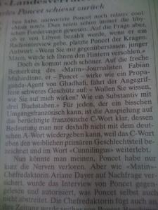 Das ist aufklärerischer Journalismus: Die Neue Zürcher Zeitung erklärt Fäkalsprache und ist dabei – wenn nicht alles täuscht – anatomisch nicht ganz treffsicher.