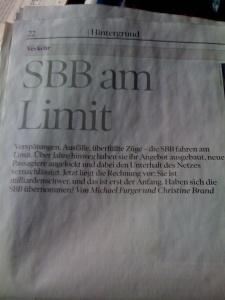 Exklusiv in der NZZ am Sonntag: Die Probleme der SBB...
