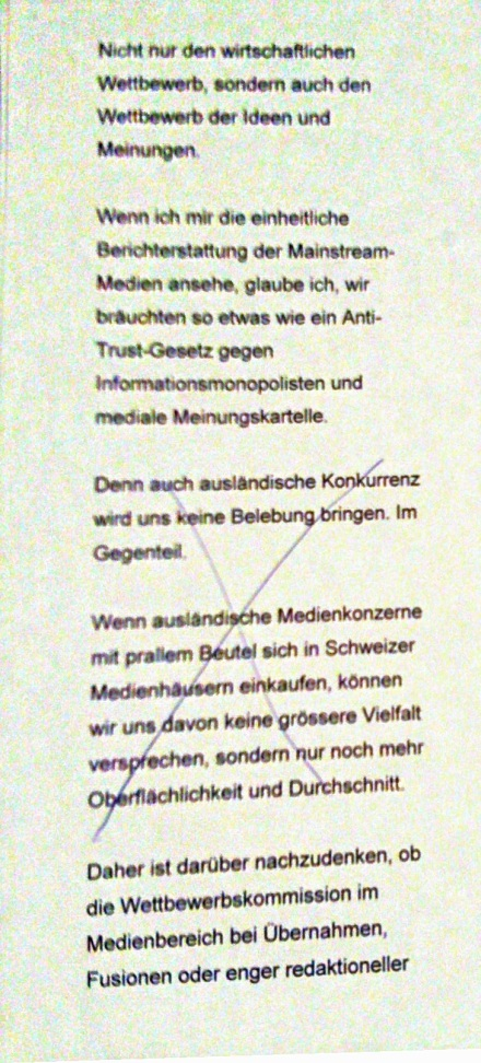 Aus Ueli Maurers Manuskript...