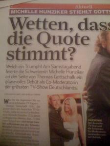 """Einheitsmeinung? Weit gefehlt... der Sonntagsblick über den Auftritt von Michelle Hunziker bei """"Wetten dass..."""""""