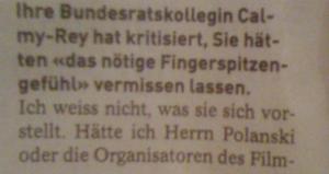 Widmer Schlumpf über Kollegin Calmy - Rey...